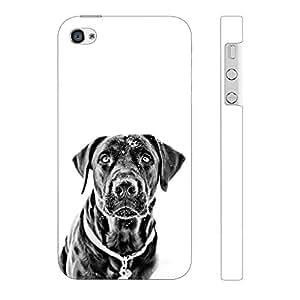 Enthopia Designer Hardshell Case Black Dog Back Cover for Apple iPhone 4