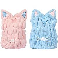 Lurrose Tappi soffici peluche cappuccio per capelli asciugare bella capelli  wrap in gatto (blu e bcec0b18c6b8