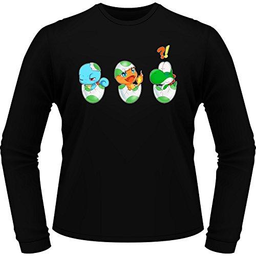 Parodie auf Yoshi von Super Mario World und SCHIGGY und GLUMANDA von Pokemon - Manga Langarm T-shirt (885) Schwarz
