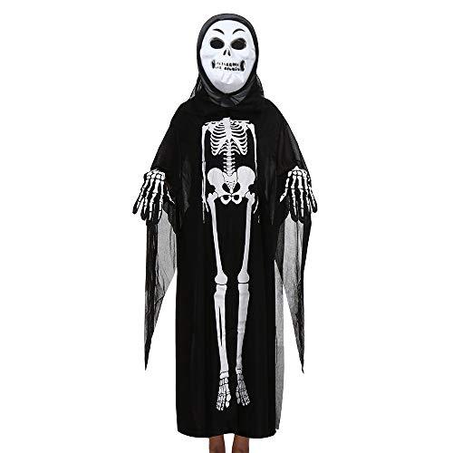 (URSING Kleinkind Jungen Mädchen Kinder Halloween Cosplay Kostüm Umhang mit Kapuze + Maske +Handschuhe Outfits Set Ausführen Kostüme Halloween Fancy Skeleton Kostüm Erwachsene)