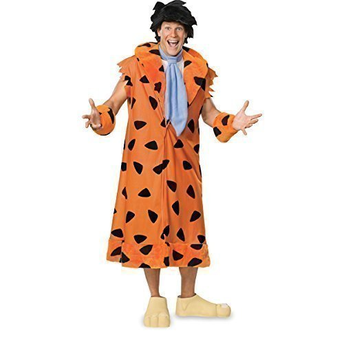 Herren 5-teiliges Deluxe Fred Feuerstein mit Perücke 1960er Halloween Karneval Fasching Kostüm STD & XL - Orange, (Fred Perücke Feuerstein)