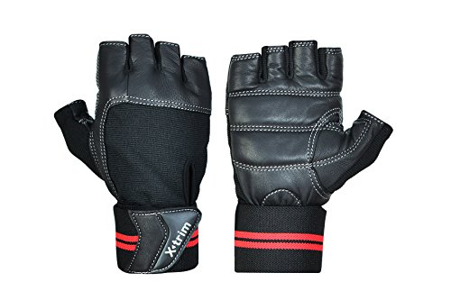 Xtrim - Macho - Leather Workout Gloves (Black, L)