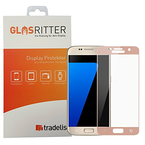 Display-Schutz Fullcover für Samsung Galaxy S7, Härte 8-9 H, getönte Screen-Umfassung in Rosegold / Pinkgold / rosa / rosé (Rosa Folie)
