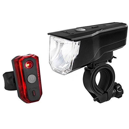 Preisvergleich Produktbild BV LED Fahrradlicht Set,  StVZO Zugelassen LED Fahrradbeleuchtung Frontlicht und Rücklicht Set,  3 Licht-Modi USB Aufladbare Fahrradlichter,  IP44 Wasserdicht LED Fahrradlampe