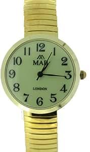 Montre Mab London Unisexe Petit Cadran lisible Jaune et Bracelet Doré Extensible