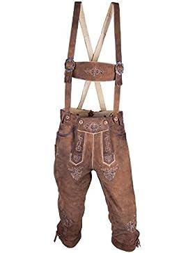 Almwerk Herren Trachten Lederhose Kniebund Modell Ludwig in braun und hellbraun