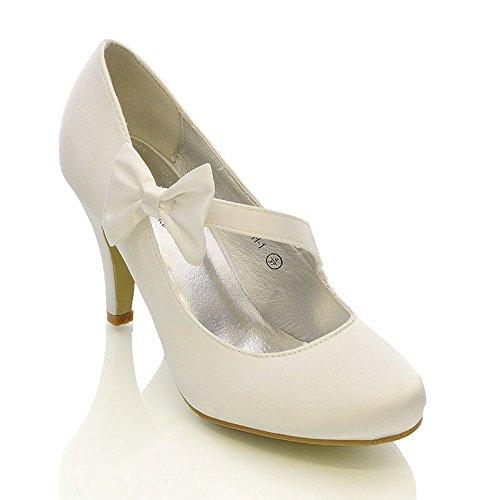 Essex Glam - Damen Braun Stiletto Pumps Weiß Elfenbein Satin Hochzeit Brautjungfer Schuhe - Satin, Weißer Satin, 40