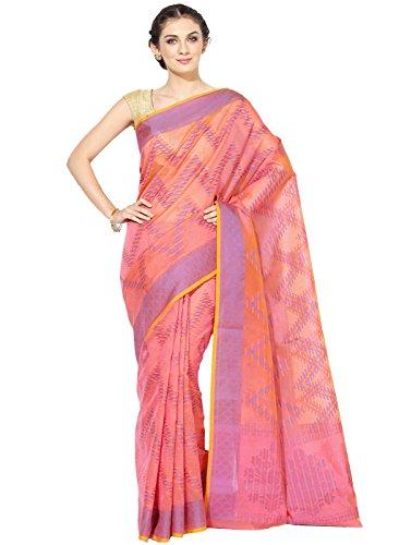 Banarasi Silk Works Supernet Cotton Saree With Blouse Piece(PTE103_Pink_Free Size)