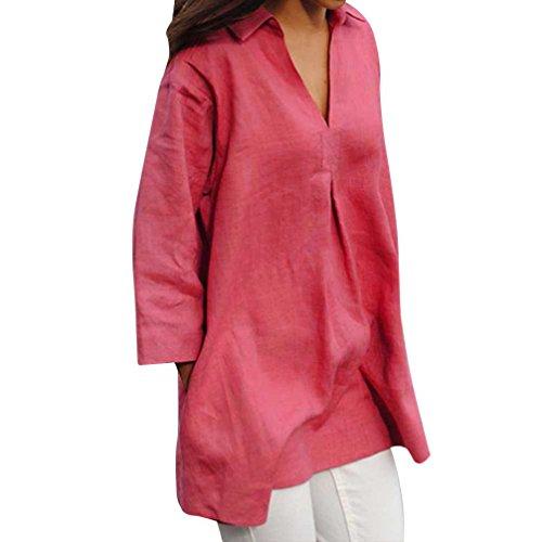 ode Sommer Herbst Schal Solide Blusen Beiläufige Lose V-Ausschnitt Tops Handgelenk Ärmel Shirts(Hot Pink,EU-52/CN-5XL) ()