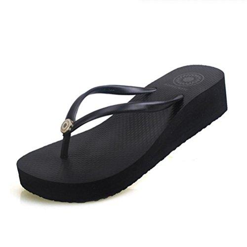 Sandales Slipper Tongs pour Femme à lintérieur et à lextérieur Slip-tongs Chaussures de plage dété antidérapantes Buy 2 Get 1 Free black