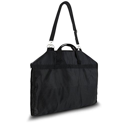 Anzugtasche / Kleidertasche Schwarz 105 x 60 cm - Kleiderhülle Wasserdicht Atmungsaktiv Faltbar - Schultergurt & Tragegriffe & Staufach - Business Reisen - Kleidersack für knitterfreie Hemden