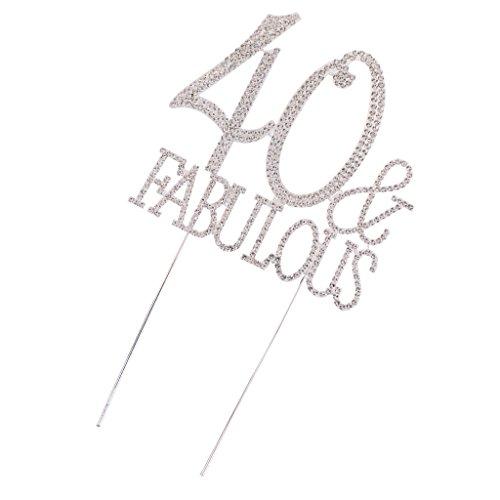MagiDeal Kristall Kuchendeckel Jahrenstag Geburtstag Kuchen Topper Cake Topper Kuchendekoration, 40 Fabulous Muster