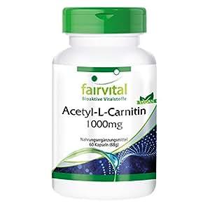 Acetyl-L-Carnitin 1000mg, hochdosiert, vegan, 60 Kapseln, für Gehirn und Zeugungsfähigkeit, 2 Monatspackung