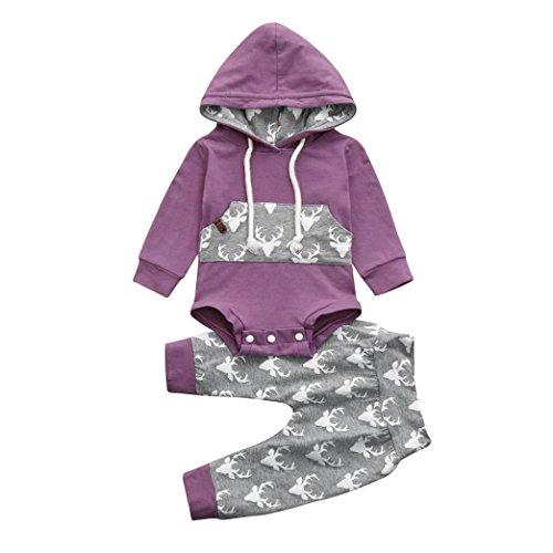 Malloom® 2PC Baby Hut mit Hirschkopf Druck Tasche Jersey Pullover + Hosen zweiteilige suit Kleinkind BabyTasche mit Kapuze Jumpsuit Set Outfits Kleidung baumwolle lila (lila, 80) (Mit Baumwoll-jersey Kapuze)