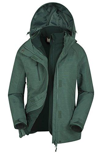 Mountain Warehouse Bracken Melange Damen 3 in 1 Regenjacke Warm Wasserdicht Winterjacke Doppeljacke Funktionsjacke mit Fleece-Innenteil Grün DE 42 (EU 44)