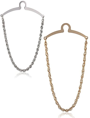 Puentes Denver 2 Pc Krawattenkette Silber Gold Krawattenklammern Krawatte Kette im Geschenketui, Geschenkset