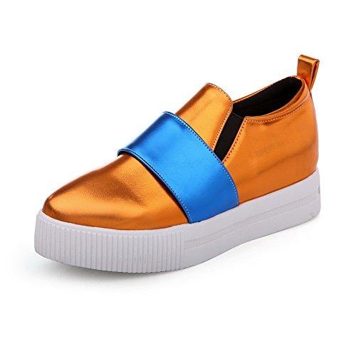 AgooLar Femme Rond à Talon Correct Matière Souple Couleurs Mélangées Tire Chaussures Légeres Orange