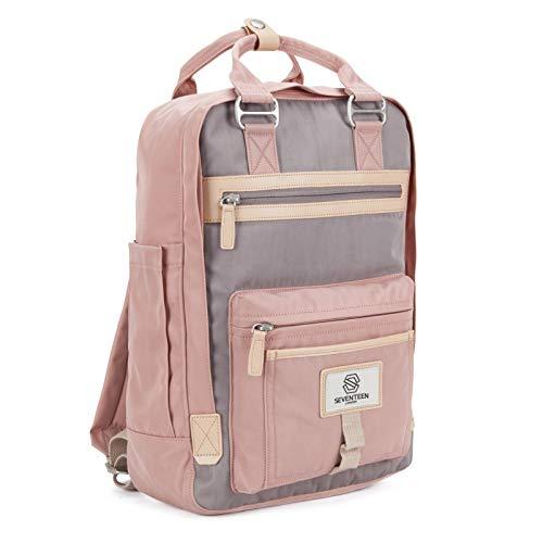 SEVENTEEN LONDON - Moderner, einfacher und Unisex 'Wimbledon' Rucksack in rosa und grau mit einem klassischen Design im Skandi-Stil - perfekt für 13-Zoll-Laptops