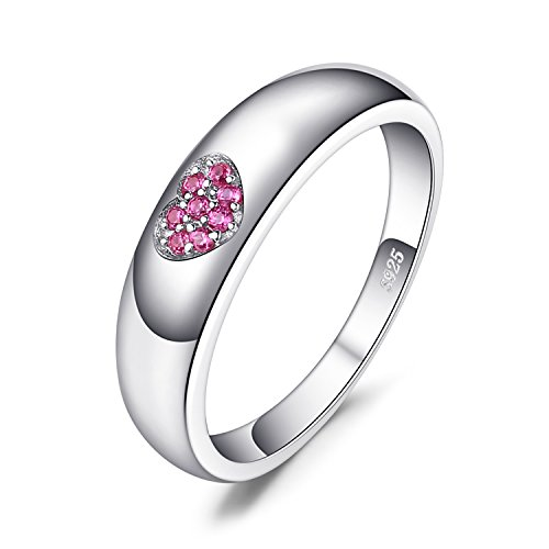 JewelryPalace Love Heart 0.04ct Erstellt Ruby Promise Engagement Bands Ring 928 Sterling Silber