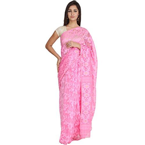Tanya Pink Hand Woven Bengal Pure Cotton Dhakai Jamdani Saree