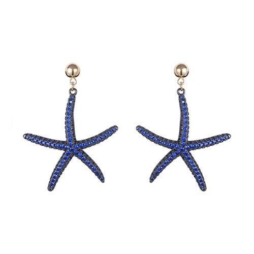 SHUCHANGLE Women's Earrings S925 Silver Needle Creative Marine Life Shape Pendant Earrings Stud Earrings Women's Jewelry, L
