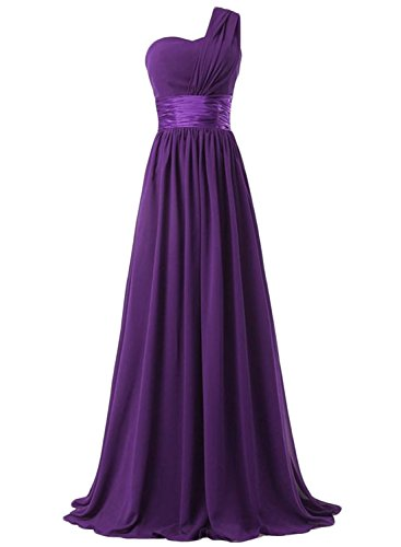 Azbro Women's Elegant Solid One Shoulder Maxi Bridesmaid Dress purple