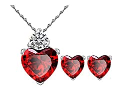 Most Beloved Bright Red Austrian Crystal Heart Shape Pendant Set With Earrings For Women by Most Beloved from Most Beloved