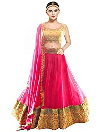 6b774e826bcbe Kesari King Women s Net Embroidery Lehengas Choli with Blouse Piece (Pink