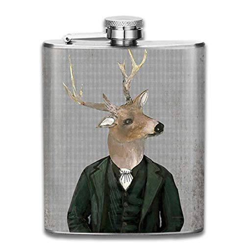 FGRYGF Pocket Container for Drinking Liquor, Stainless Steel Leak-Proof Hip Flask Cute Deer Wearing...