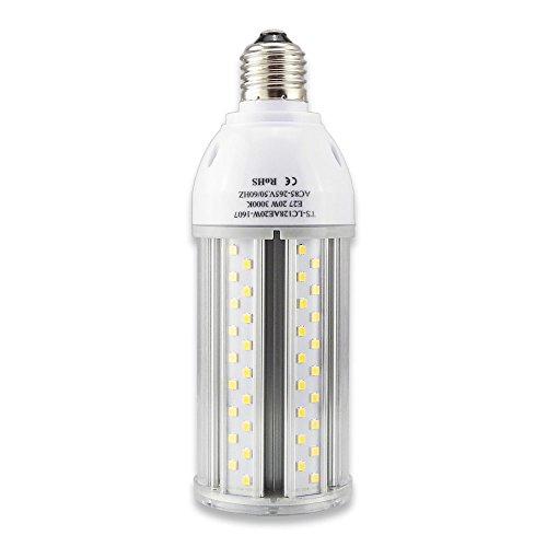 Tongsung LED-Lampen, 20W Warme Weiße(3000K) mit breitem Eingangsspannung AC85V-265V, Super Bright Light Output(2000 LM), mit Aluminiumlegierung Bau und Staubschutz (Schutzstufe : IP64). E27 Cap