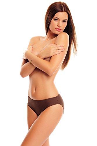 High Waist / Bauchweg / Minimizer Badeslip / Bikini Hose / Flacher Bauch / Bodyform-Futter / Octopus 1151-5255 S4(br) - Braun
