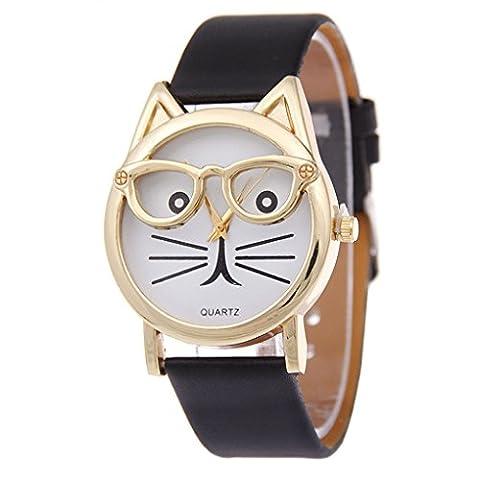 QHGstore Frauen-Karikatur-Uhr-Damen-3D-Glas-Katze-Mädchen-Vorwahlknopf-Quarz-Armbanduhr schwarz