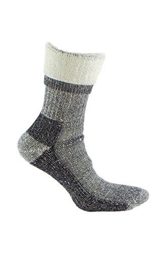 Calcetines de LANA MERINO de TREKKING para deportes de invierno (esquí, snowboarding, senderismo, pesca…), o situaciones de frío y humedad. Idóneos para el uso con botas de montaña. (Gris, 35-38)
