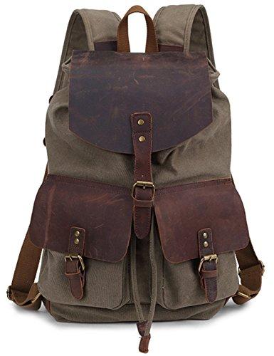 Minetom Damen Herren Canvas Leder Rucksack Retro Schultasche Neu Daypack Für Freizeit Reise Armeegrün