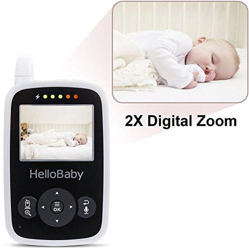 HelloBaby HB24 Moniteur Vidéo Sans fil Avec Appareil Photo Numérique, Surveillance de la Température de Vision Nocturne et Système de Communication Bidirectionnelle(Blanc)