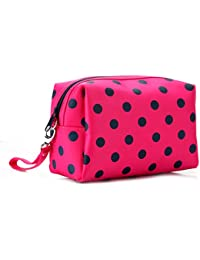 Flyusa Women's Polka Dot Travel Cosmetic Makeup Bag Pouch Tote Handbag Casual Purse Toiletry Bag(Hot Pink)