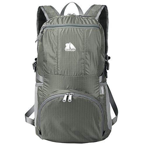 Yeahjoy 35L Nylon-Rucksack leicht, verstaubar, unglaublich langlebig, groß, wasserfest, faltbar,Tagesrucksack, Rucksack zum Wandern , grau