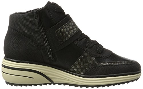Rieker Ladies M9320 Sneaker Alta Nero (nero / Argento Antico / Nero / Nero)