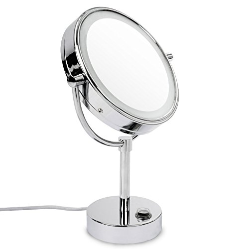 casa pura® Kosmetikspiegel mit LED Beleuchtung | 3 hohe Vergrößerungsgrade wählbar (10-Fach) -