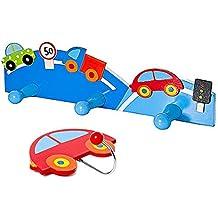 Set de dos ganchos perchero de pared la ropa, triple e individual, con diseño azul de coches para la habitación de los niños