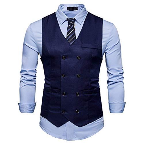 Herren Waistcoat Slim Fit Hochzeit Anzugweste Einfarbig Weste Zweireihig Jungen Sakko Blazer Gilet Blazer Vest Elegant (Color : Marine, Size : S)