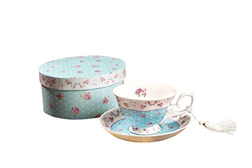 London Boutique Kaffee und Tee-Tassen und Untertassen Set von 2 Vintage Flower Flora Rose Lavendel Geschenk-Box, Keramik, 1pc Set, 11x8cm (Shabby Chic Blau) -