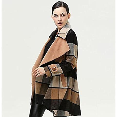 PU&PU Women's Ln The Long Section Of Loose Plaid Wool Coat Outerwear , screen color , l