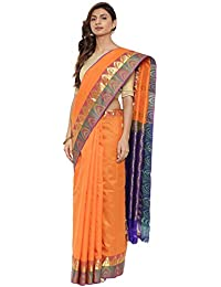CLASSICATE From the house of The Chennai Silks Traditional Silk Saree With Temple Border (CCMYSS10393 - Vibrant Orange)