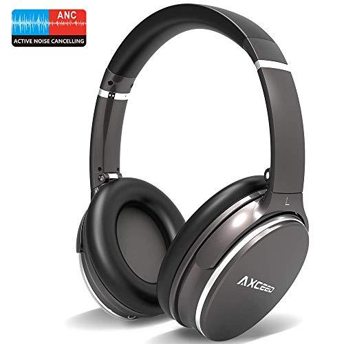 Bluetooth Kopfhörer Kabellose, AXCEED Active Noise Cancelling Over Ear Headphones Wireless Geräuschreduzierender Kopfhörer mit Mikrofon, HiFi Stereo Bass, CVC6.0, für Alle Geräte mit Bluetooth Stereo-bluetooth-mikrofon