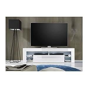 Score meuble tv avec éclairage led 153cm blanc brillant