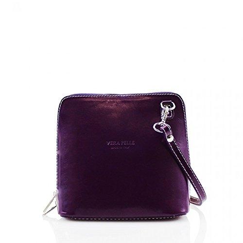 LeahWard® VERA PELLE ITALY GENUINE Cuir Sac À Betoulière Sac Betoulière Petit Sacs (Violet H16cm x W18cm x D8cm)