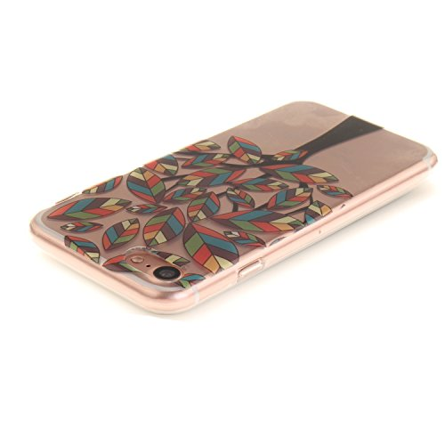 iPhone 7 Hülle,iPhone 7 Hülle Case,iPhone 7 Silikon Hülle [Kratzfeste, Scratch-Resistant], Cozy Hut iPhone 7 (4,7 Zoll) Hülle TPU Case Schutzhülle Silikon Crystal Kirstall Clear Case Durchsichtig, Far Bunte Baum