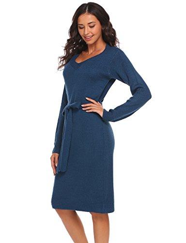 Keland Damen Elegant Strickkleid V Ausschnitt Langarm Slim Fit Etuikleid mit Gürtel Casual Pullover Kleid JerseyKleid Dunkelblau