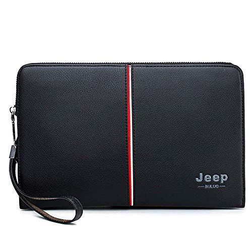 ujhfdghdf Japanische Männer-Handtasche, Handypaket, hochwertige Zerstäuben Ledergeldbörsen, Handtaschen der großen Kapazität Männer, schwarz -